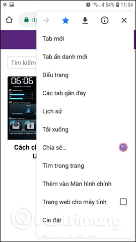 Giao diện Chrome Android tiếng Việt
