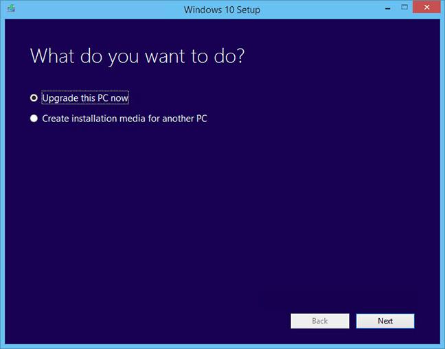Chọn tùy chọn đầu tiên để nâng cấp Windows 10