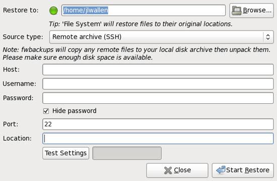 Backup Linux, Mac hoặc Windows bằng fwbackups