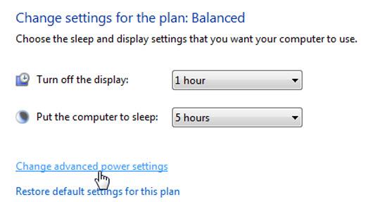 Chọn tiếp Change advanced power settings