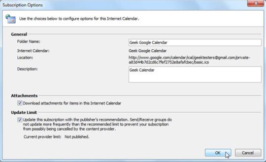 Sử dụng Google Calendar trong Outlook 2010
