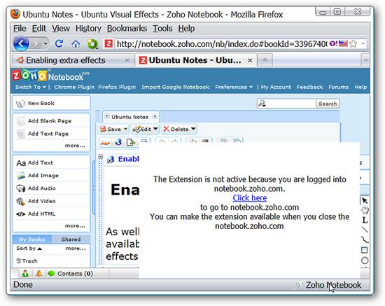 Thêm Note vào Zoho Notebook trong Firefox