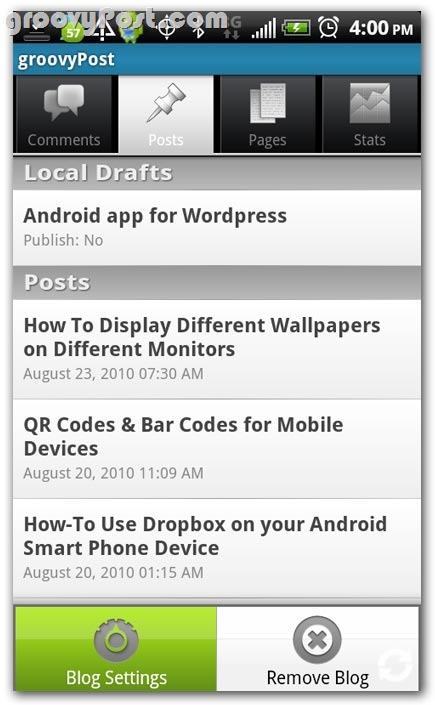 Quản lý WordPress từ thiết bị Android