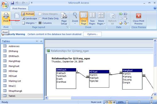 Bài 8: Thiết lập quan hệ giữa các bảng Access 2007