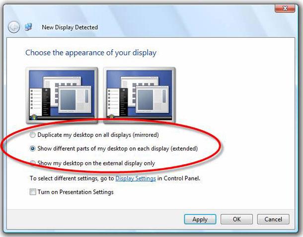 Khi cần chọn lại chế độ hiển thị mới, bạn bấm phải chuột trên màn hình  Desktop, rồi chọn mục Screen Resolution. Để phát hiện ra màn hình mới gắn  vào, ...