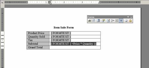 10 bước tạo Form tính trong Word