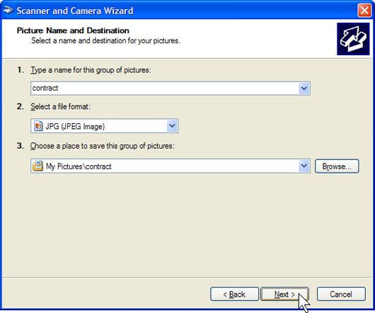 Trong cửa sổ Picture Name and Destination, nhập tên ảnh của bạn, chọn định dạng file JPG