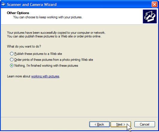 Windows XP sẽ scan tài liệu của bạn. Trên trang Other Options, kích Nothing. Sau đó kích Next.