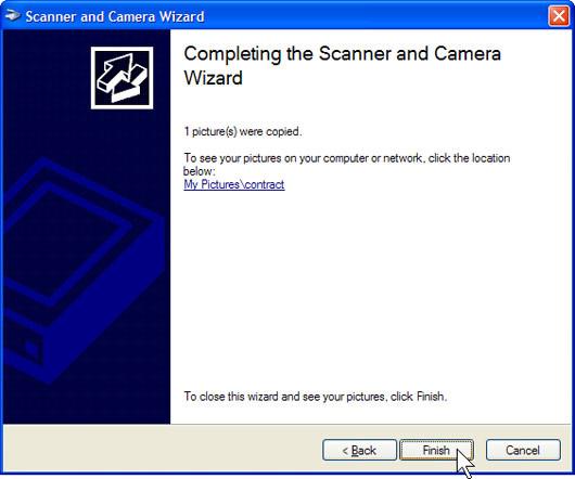 Nếu bạn không hài lòng về kết quả thu được, hãy kích Back để quay lại cửa sổ Choose Scanning Preferences, điều chỉnh các thiết lập và thực hiện lại việc scan.