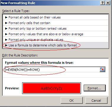 Sử dụng định dạng điều kiện để định dạng hàng chẵn, lẻ