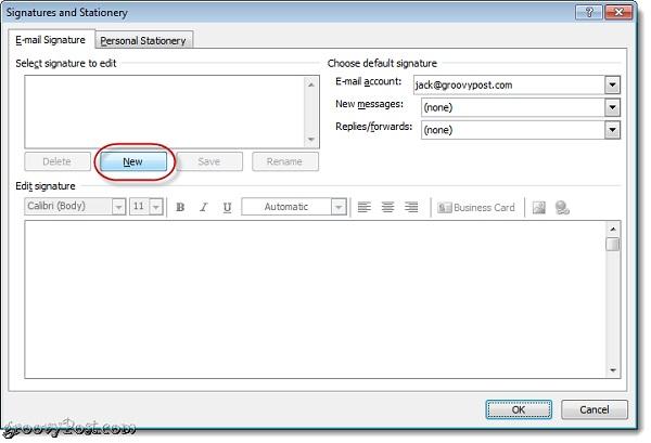 Hướng dẫn tạo chữ ký với Business Card trong Outlook 1