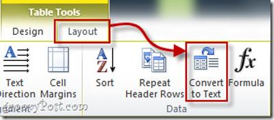 Hướng dẫn chuyển đổi định dạng bảng trong Word 2010 thành text