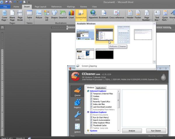 Chụp và chỉnh sửa ảnh màn hình với MS Word 2010