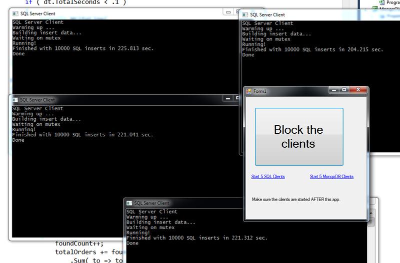 chạy ứng dụng liên tục insert qua SQL Server