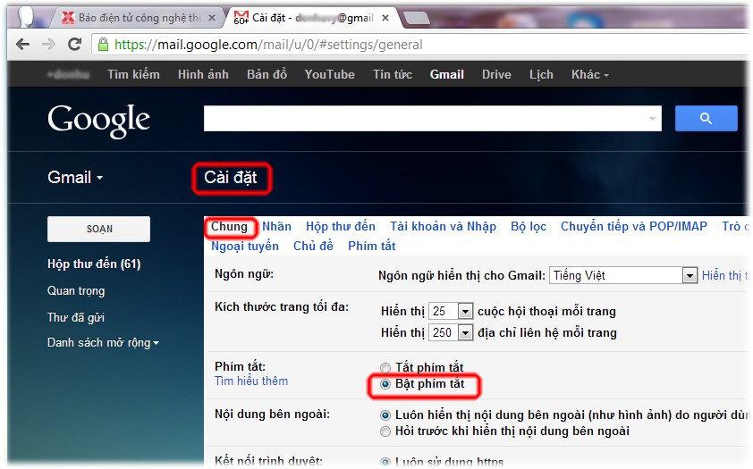 62 phím tắt Gmail, hoclaptrinhweb.com
