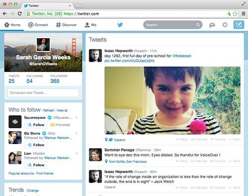 Twitter làm mới giao diện nền web giống thiết kế di động