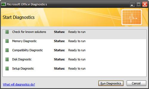 Sửa chữa các ứng dụng trong Microsoft Office 2007