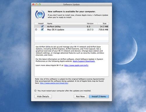 Apple ra bản cập nhật OS X Lion 10.7.3