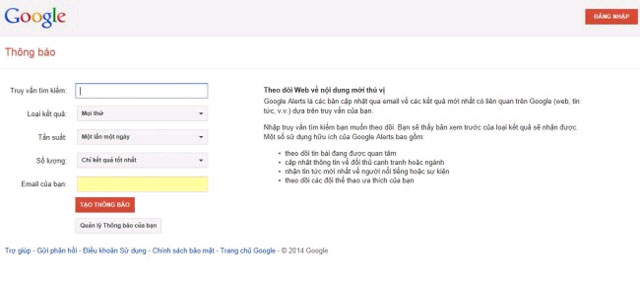 Thiết lập Google Alerts để theo dõi được nhiều nội dung hay