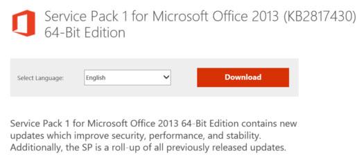 Microsoft phát hành bản cập nhật Service Pack 1 cho Office 2013