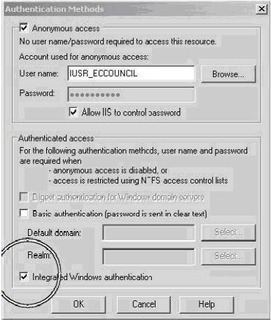 Kết hợp với phương thức xác thực NTLM của Windows