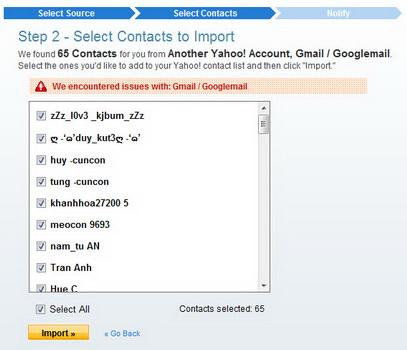 Chuyển danh bạ từ Gmail, Hotmail, Facebook sang Yahoo! Mail