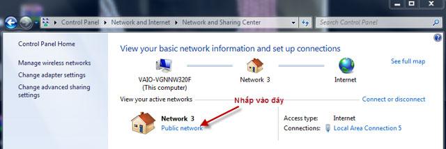 Chuyển về chế độ Home Network