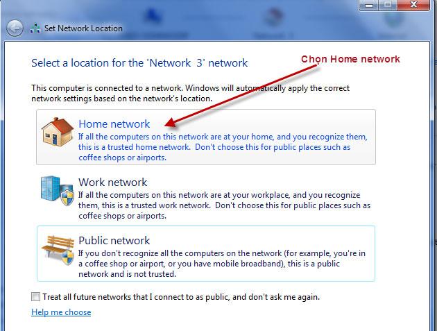 Nhấn chọn Home Network