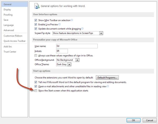 Cách vào thẳng màn hình soạn thảo trong Office 2013