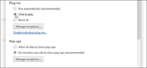 """Kích hoạt """"Click-to-Play"""" trong Firefox và Chrome"""