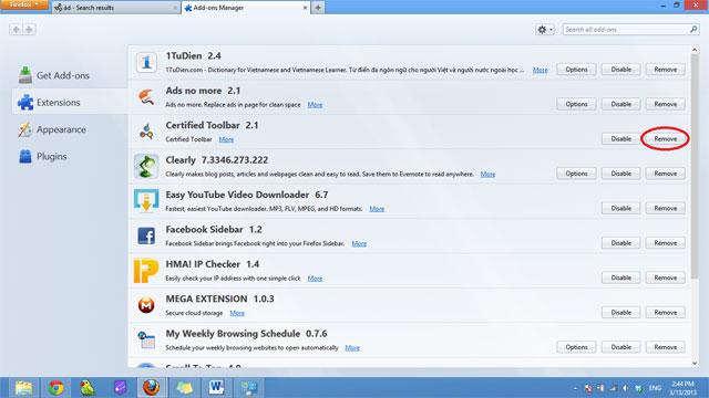Cách gỡ bỏ Certified Toolbar, Ilivid Searchnu... khỏi trình duyệt