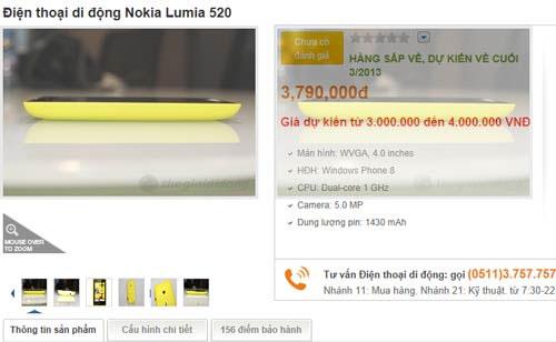 Lumia 520 sẽ mặt tại Việt Nam giá 3,8 triệu đồng