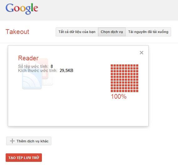 Hướng dẫn sao lưu dữ liệu Google Reader Feeds