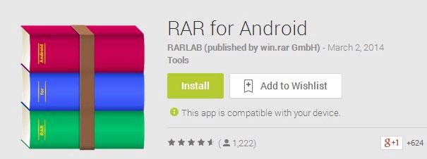 Tạo và quản lí các tập tin RAR trên Android như trên máy tính