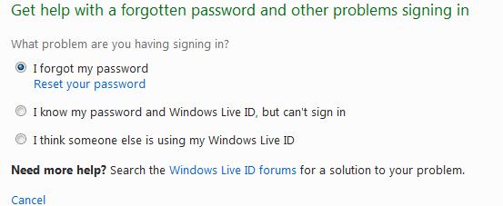 Khôi phục lại mật khẩu tài khoản Windows Live/Hotmail đã mất