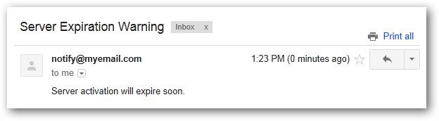 Thông báo được gửi về email đã đăng ký