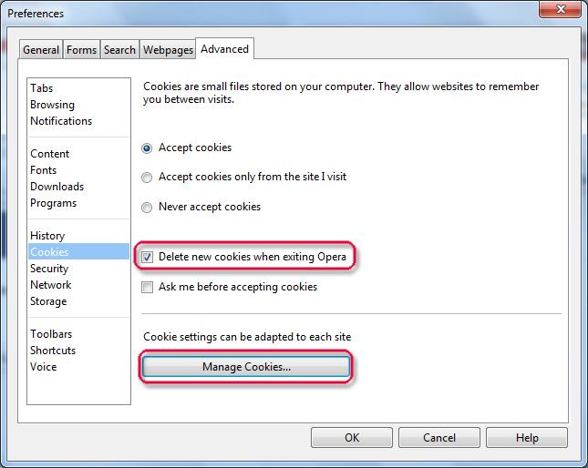 Xóa cookies trong các trình duyệt phổ biến