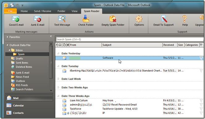 Tự động nhận dạng và xóa email spam trong Outlook với Spam Reader