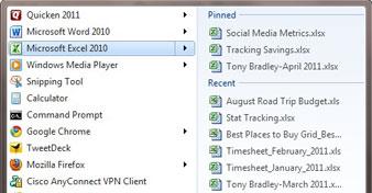 Jump List hiển thị các file mới được sử dụng nhất của rất nhiều ứng dụng trong Start Menu.