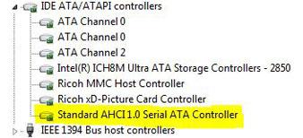 Kiểm tra Windows 7 Device Manager để biết rằng AHCI đã được kích hoạt hay chưa.