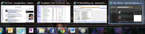 Di chuyển chuật qua các mục tin trên thanh tác vụ sẽ hiển thị ảnh thumbnail của các cửa sổ đang được mở của một chương trình.