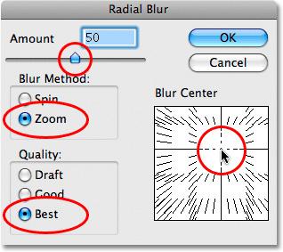 Chỉnh thông số của Radial Blur