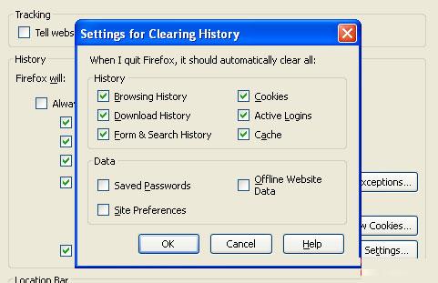 Tự động xóa thông tin cá nhân khi đóng Firefox