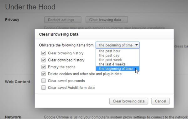 xóa dữ liệu lướt web