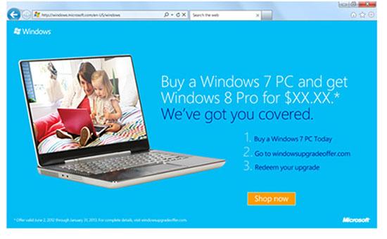 Windows 7 nâng cấp lên Windows 8 chỉ mất 15 USD