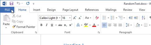 Xác định nhanh vị trí file trong Word 2013