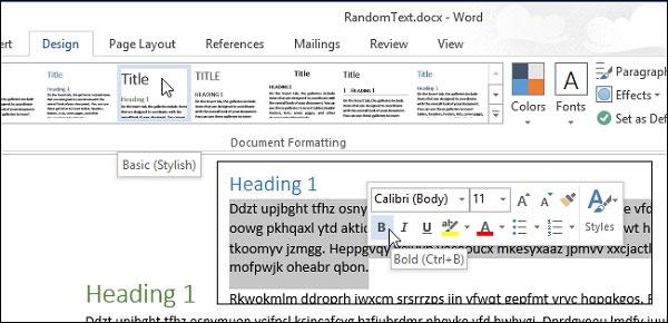 Tắt thanh Mini Toolbar và tính năng Live Preview trong Word 2013