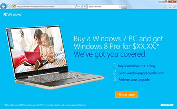 Microsoft cho cập nhật Windows 8 với 15 USD