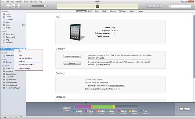 Các phương pháp lưu dự phòng dữ liệu trên iPad