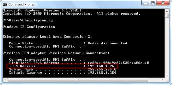 Xem địa chỉ IP bằng Command Prompt